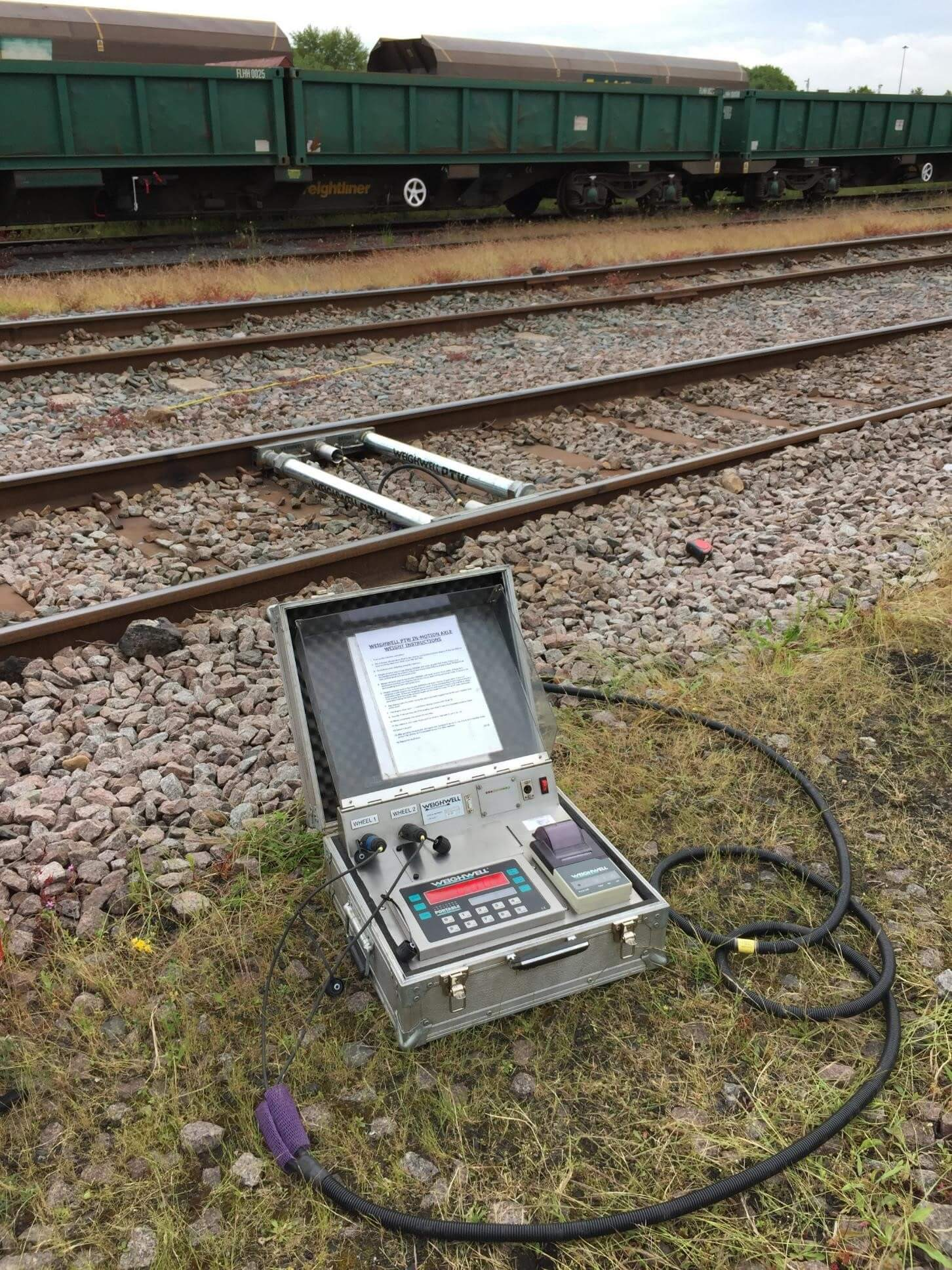 In-motion train weighing of rail freight