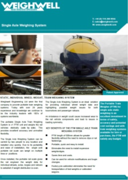 Single Axle Weighing System brochure